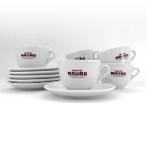 Caffè Mauro Classic Porcelain 200ml Cappuccino/Tea Cups and Saucers