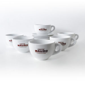 Caffè Mauro Classic Porcelain 300ml Latte Cups and Saucers