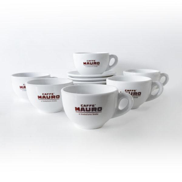 Caffè Mauro Classic Porcelain 300ml Latte Cups and Saucers